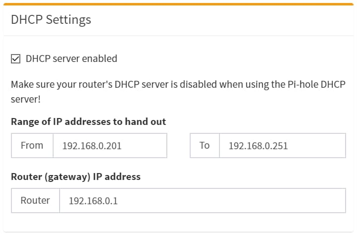 "Screenshot des Abschnittes ""DHCP Settings"" in der Pi-Hole Admin-Konsole"