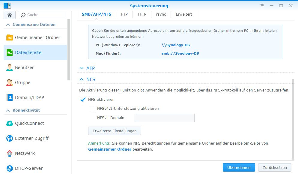 Das NFS Protokoll wird in der DSM-Systemsteuerung aktiviert